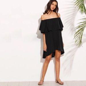Dresses & Skirts - Off Shoulder Loose Ruffled Overlay Dress Black